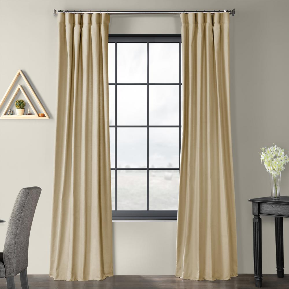 Exclusive Fabrics & Furnishings Kilim Beige Solid Country Cotton Linen Weave Curtain - 50 in. W x 108 in. L