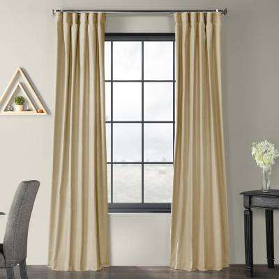 Kilim Beige Solid Country Cotton Linen Weave Curtain - 50 in. W x 84 in. L