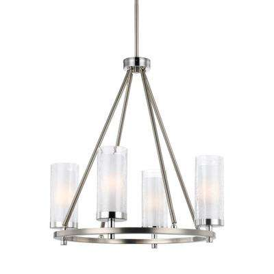Jonah 4-Light Satin Nickel/Chrome Single Tier Chandelier Shade