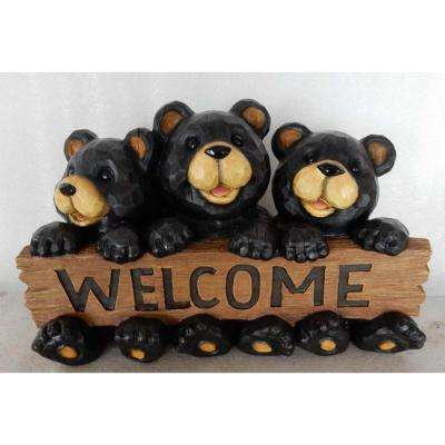 Bear Family Welcome Sign Statue