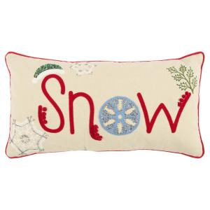 Holiday Snow Word 11 in. x 21 in. Decorative Filled Pillow