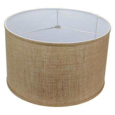 18 in. W x 11 in. H Burlap Natural/Nickel Hardware Drum Lamp Shade