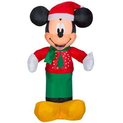 3.5 ft. Pre-lit Inflatable Airblown Mickey in Christmas Sweater