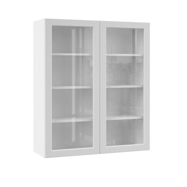 Hampton Bay Designer Series Melvern Assembled 36x42x12 In Wall Kitchen Cabinet With Glass Doors In White Wgd3642 Mlwh The Home Depot