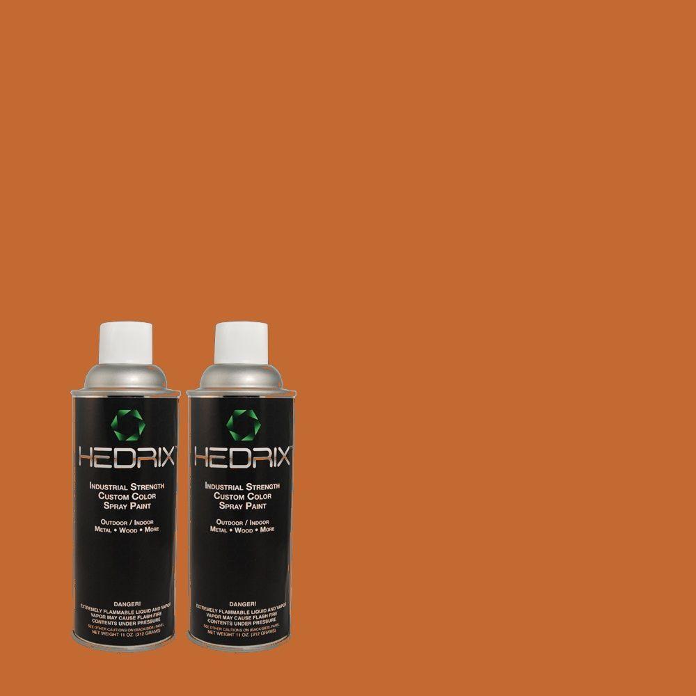 Hedrix 11 oz. Match of 250D-7 Caramelized Orange Flat Custom Spray Paint (2-Pack)