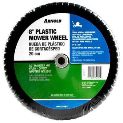 8 in. x 1.75 in. Universal Plastic Wheel with 1/2 in. Dia Nylon Offset Hub and Adapters Included