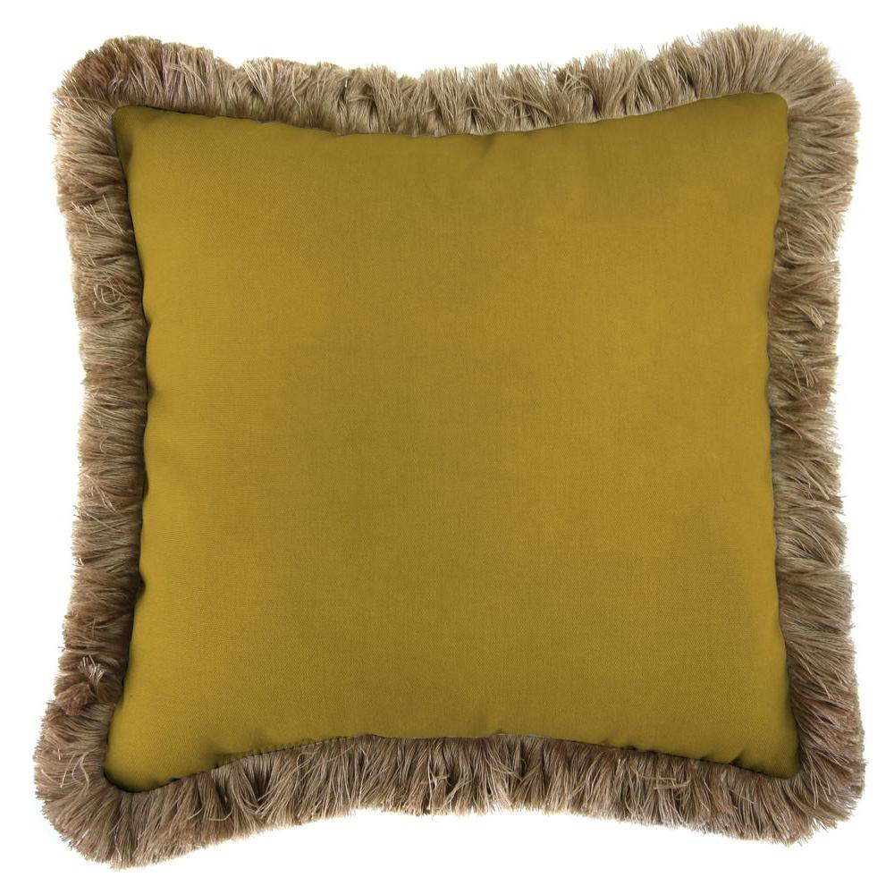 Jordan Manufacturing Sunbrella Canvas Maize Square Outdoor Throw Pillow with Heather Beige Fringe