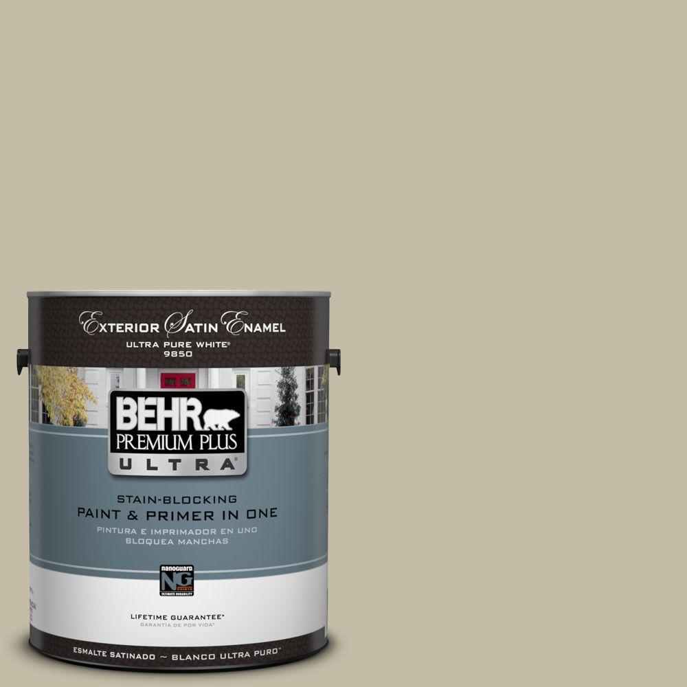 BEHR Premium Plus Ultra 1-Gal. #UL190-8 Celery Powder Satin Enamel Exterior Paint