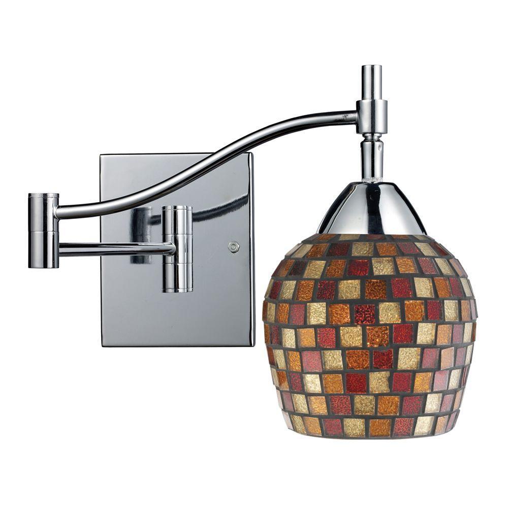 Titan Lighting Celina 1-Light Polished Chrome Wall-Mount Swingarm Sconce