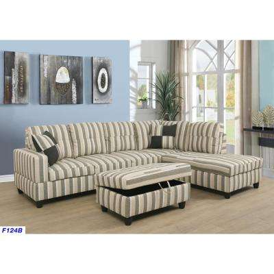 Surprising Brown Striped Left Chaise Sectional With Storage Ottoman Dailytribune Chair Design For Home Dailytribuneorg