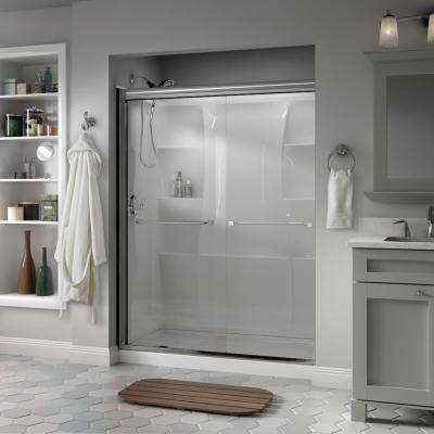 Everly 60 in. x 70 in. Semi-Frameless Traditional Sliding Shower Door in Chrome with Clear Glass