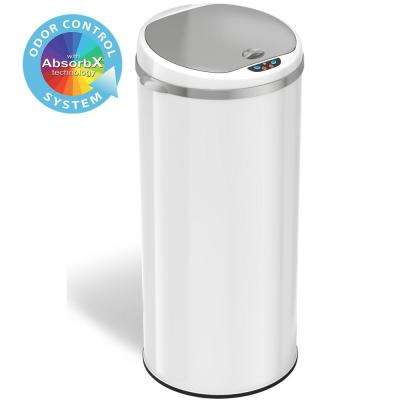 13 Gal. Matte Pearl White Touchless Round Motion Sensing Trash Can with Odor Filter