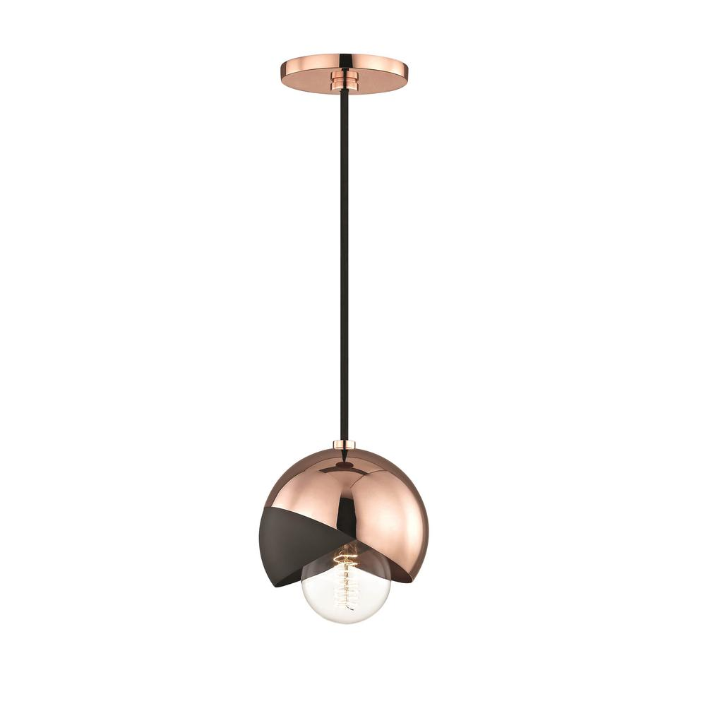 Emma 1-Light Polished Copper Pendant with Black Accents