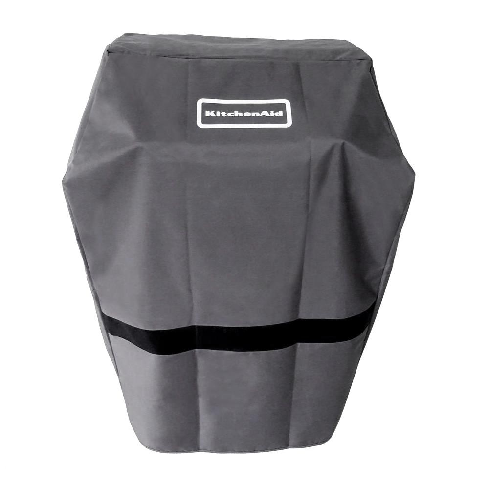 KitchenAid 28 in. Grill Cover, Gray Protect your grill with a KitchenAid grill cover. With its full length design, this cover protects your grill against the weather, dust and corrosion. The tent style fit is optimal for exterior moisture removal and interior airflow. Color: Gray.
