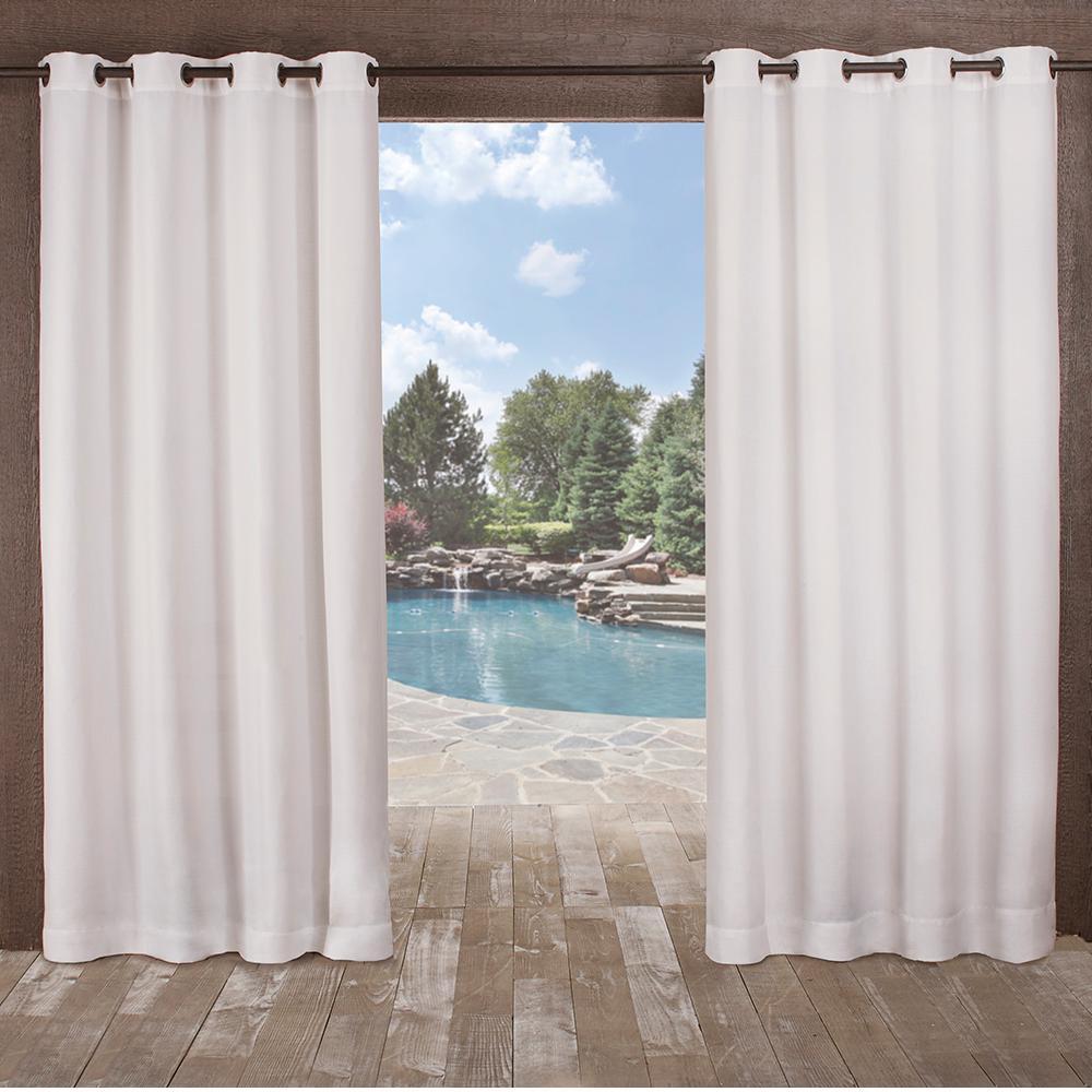 Delano 54 in. W x 84 in. L Indoor Outdoor Grommet Top Curtain Panel in Winter White (2 Panels)