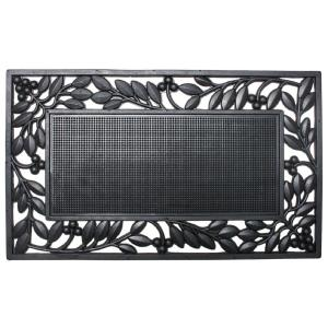 18 inch x 30 inch Rubber Leaf Border Door Mat by