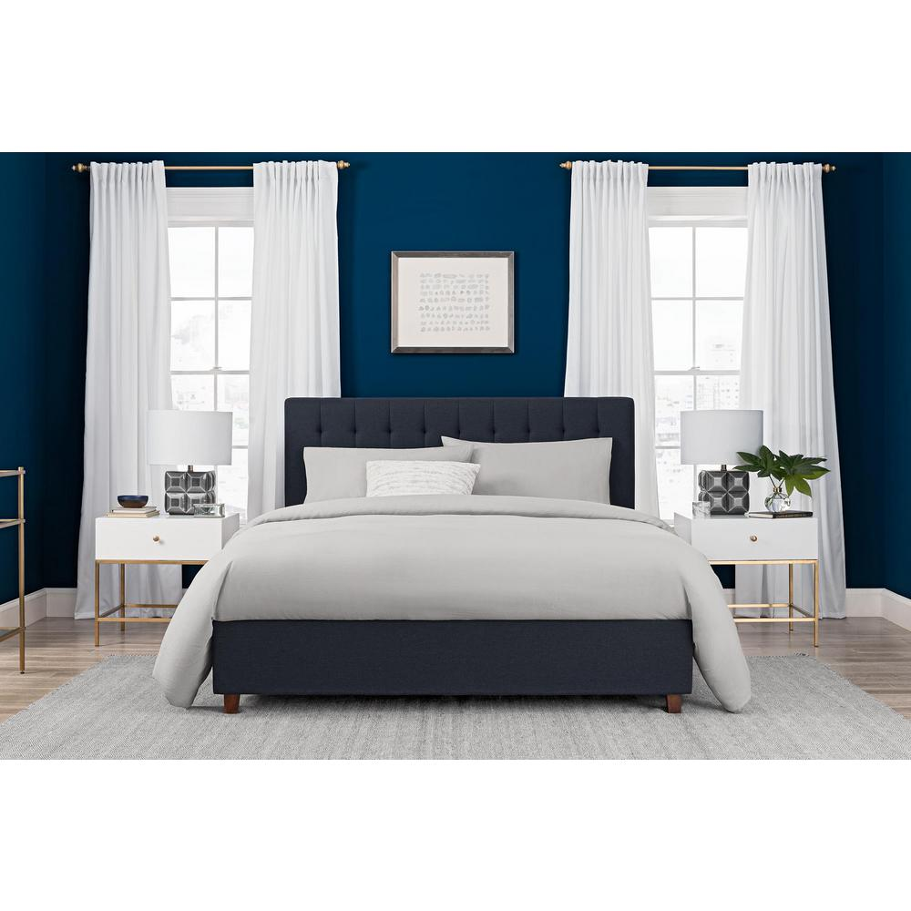 Dhp Emily Blue Upholstered Linen Queen Size Bed Frame