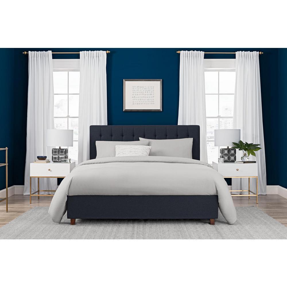 Eva Blue Upholstered Linen Queen Size Bed Frame