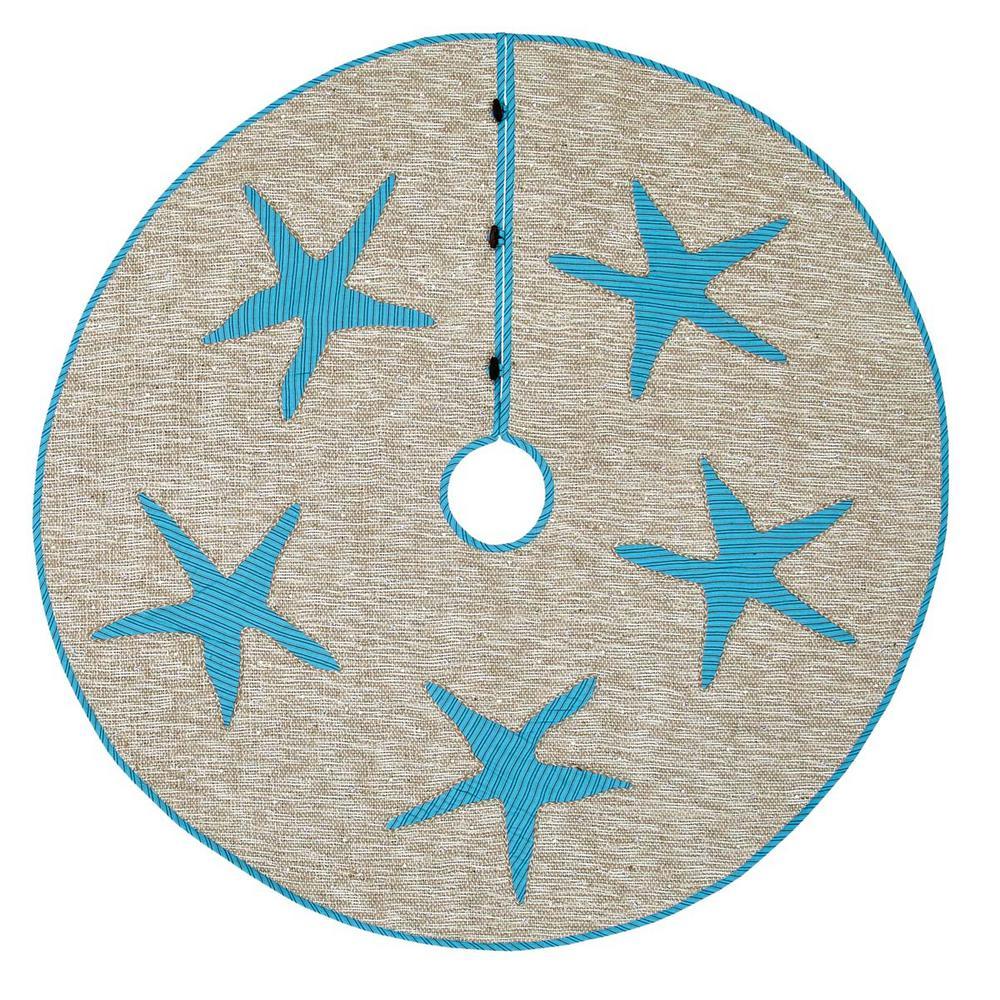 48 in. Nerine Robin Egg Blue Coastal Christmas Decor Tree Skirt