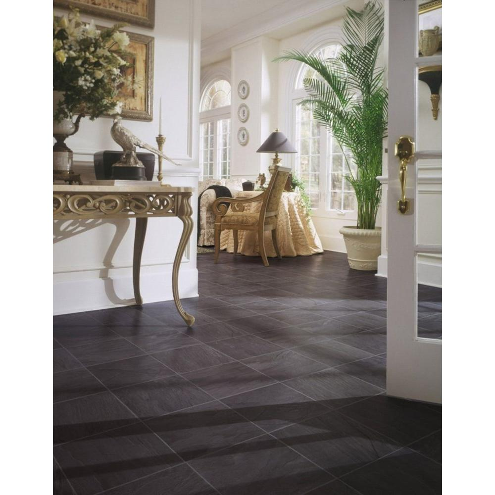 Textured laminate tile stone flooring laminate flooring the black slate 8 mm thick x 12 in wide x 47 in length click dailygadgetfo Images
