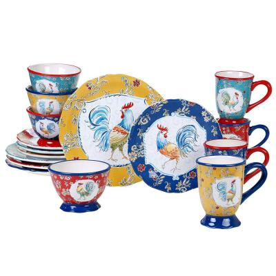 Morning Bloom 16-Piece Multi-Colored Earthenware Dinnerware Set
