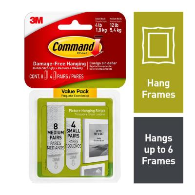 Small and Medium White Picture Hanging Adhesive Strips (4-Small Adhesive Strips) (8-Medium Adhesive Strips)