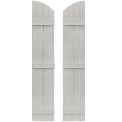 14 in. x 73 in. Board-N-Batten Shutters Pair, 4 Boards Joined with Arch Top #030 Paintable