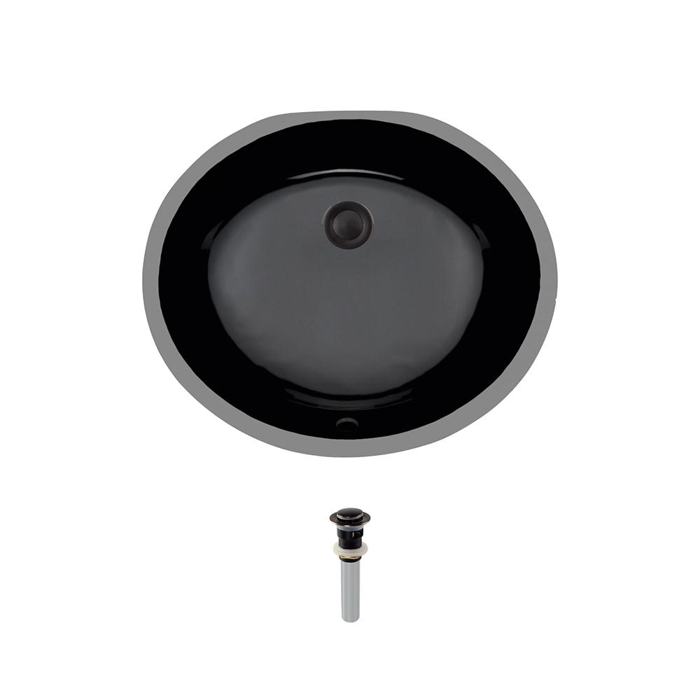 Undermount Porcelain Bathroom Sink in Black with Pop-Up Drain in Antique