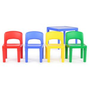 +2. Tot Tutors Playtime 5 Piece Primary Colors Kids Plastic Table ...