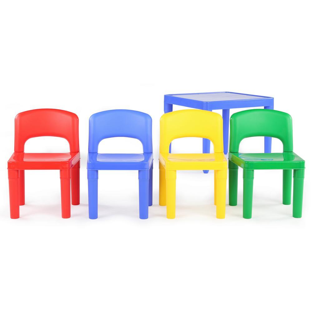 +2. Tot Tutors Playtime 5 Piece Primary Colors Kids Plastic Table ...