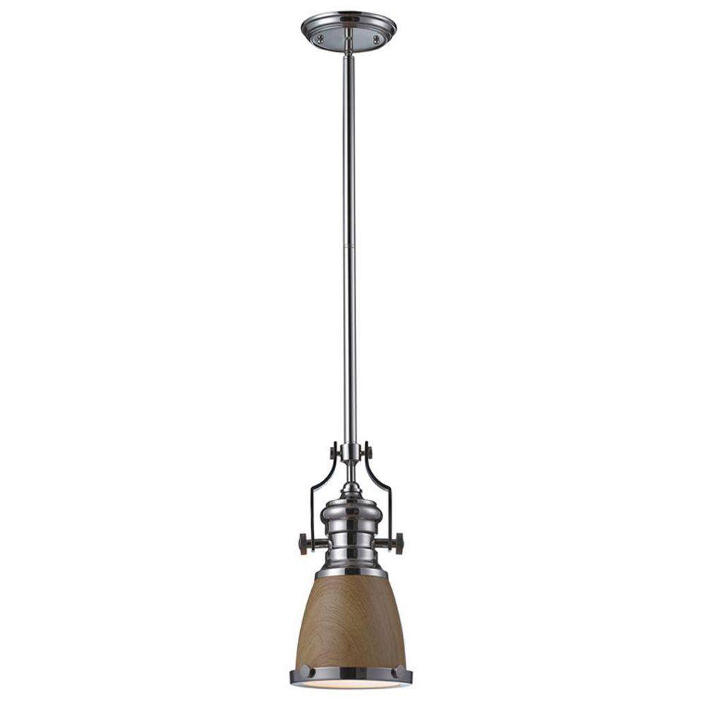 Titan Lighting Chadwick 1-Light Medium Oak and Polished Nickel Ceiling Mount Pendant