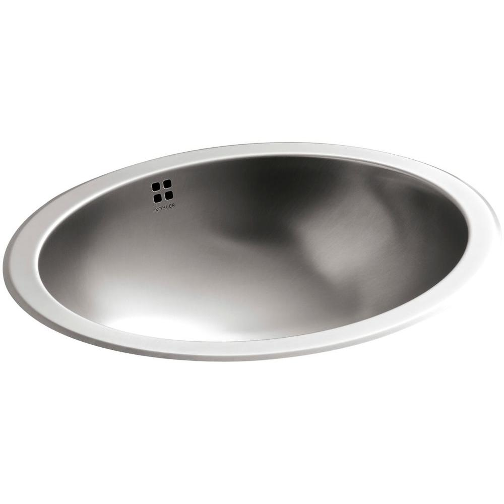 KOHLER Bachata Undermount Stainless Steel Bathroom Sink In Stainless Steel  With Luster