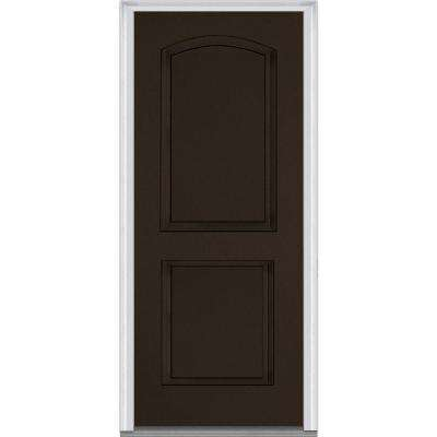 36 in. x 80 in. Right-Hand Inswing 2-Panel Archtop Classic Painted Fiberglass Smooth Prehung Front Door