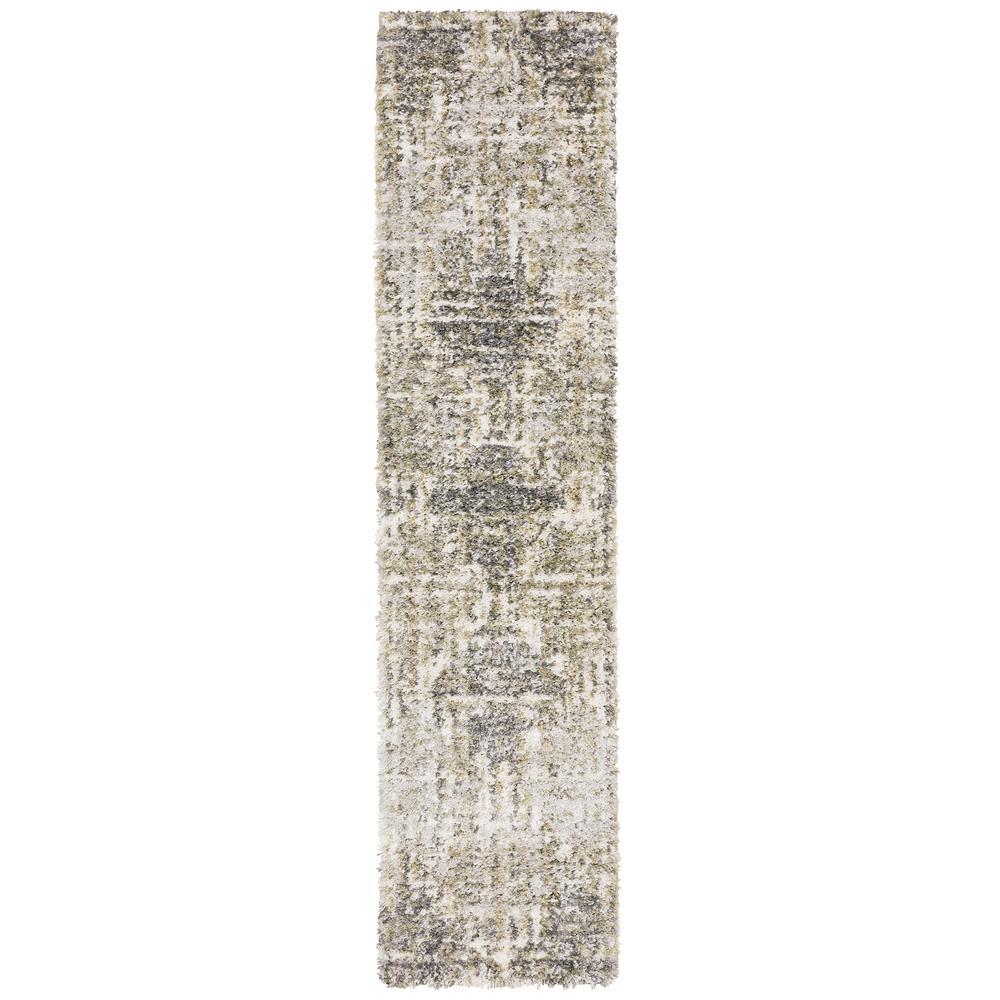 Landon Gray/Green 2 ft. x 8 ft. Abstract Shag Runner Rug