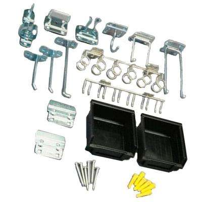 LocHook Zinc Plated Steel Hook and Bin Assortment for LocBoard (30-Piece)