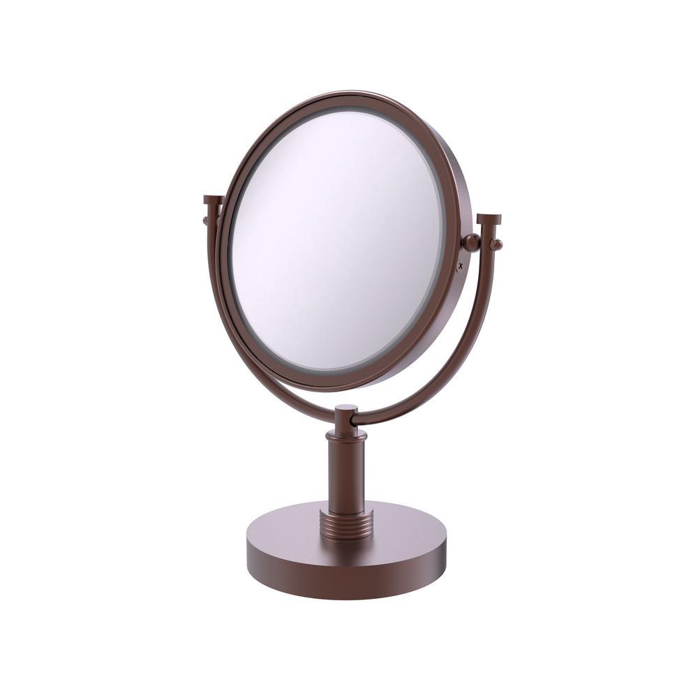 8 in. x 15 in. Vanity Top Makeup Mirror 3x Magnification in Antique Copper
