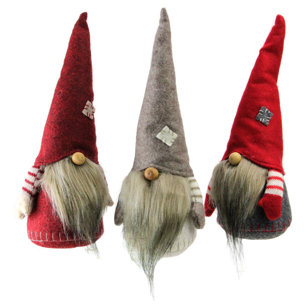 10.5 in. Striped Red and Gray Bearded Chubby Santa Gnome Table
