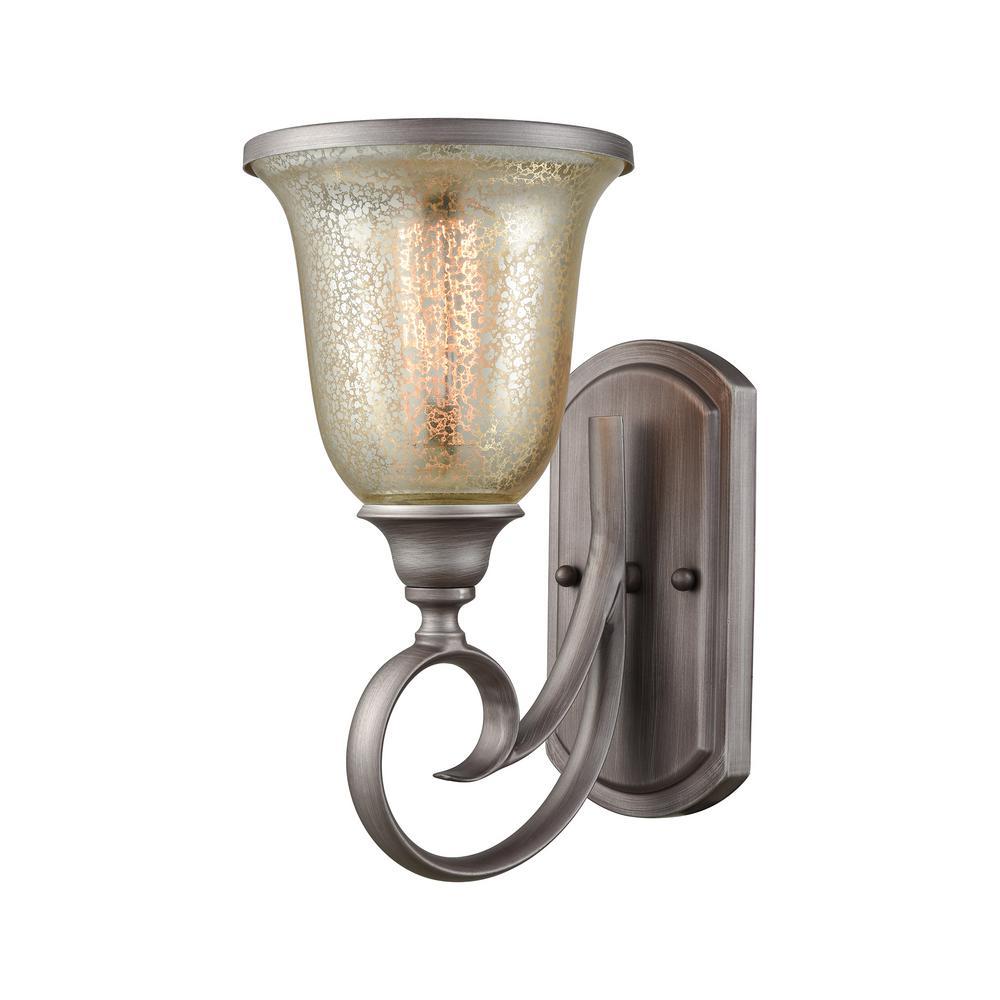 Georgetown 1-Light Weathered Zinc with Mercury Glass Bath Light