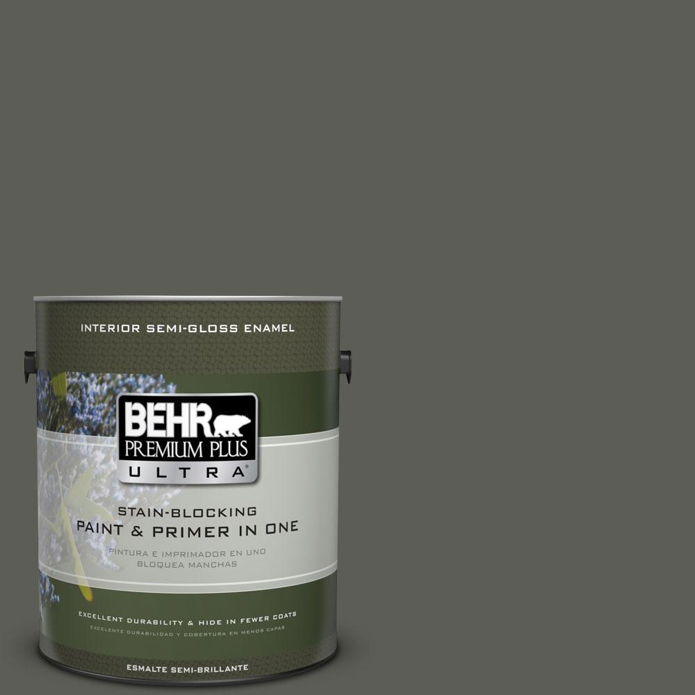 BEHR Premium Plus Ultra 1-gal. #N380-7 Black Bamboo Semi-Gloss Enamel Interior Paint