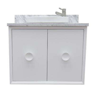 Stora 31 in. W x 22 in. D Wall Mount Bath Vanity in White with Marble Vanity Top in White with White Round Basin