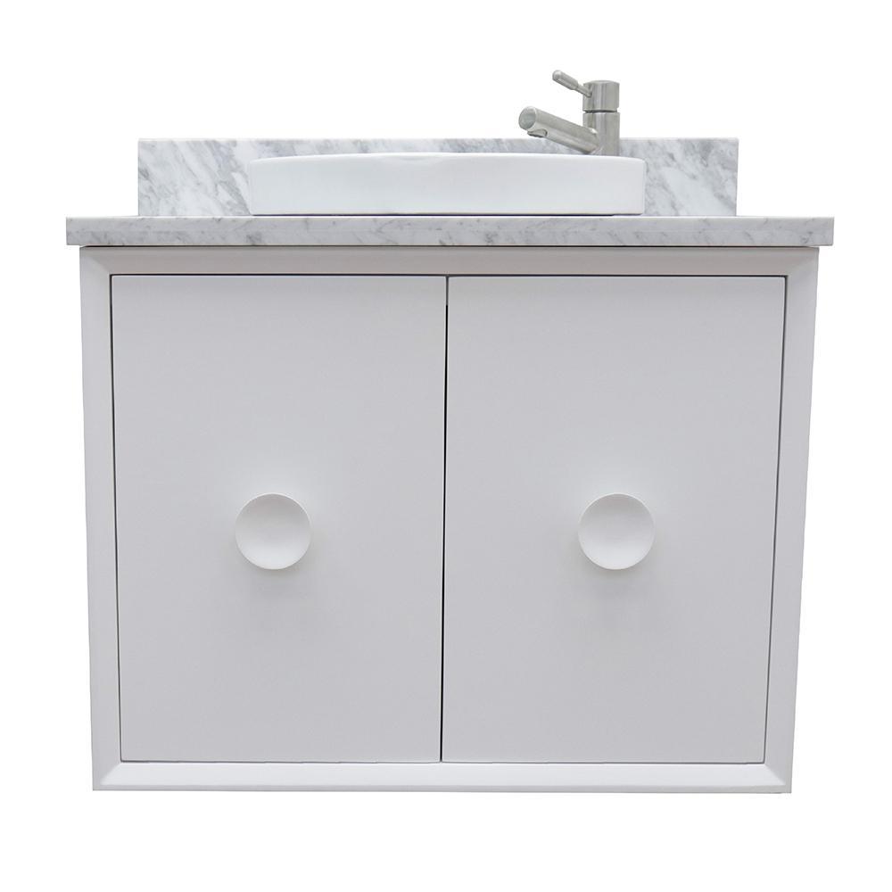 Stora 31 in. W x 22 in. D Wall Mount Bath Vanity in White with Marble Vanity Top in White with White Round Basin
