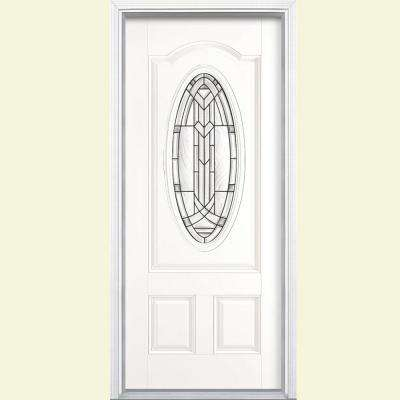 36 in. x 80 in. Chatham 3/4 Oval Left Hand Inswing Painted Smooth Fiberglass Prehung Front Door w/ Brickmold,Vinyl Frame
