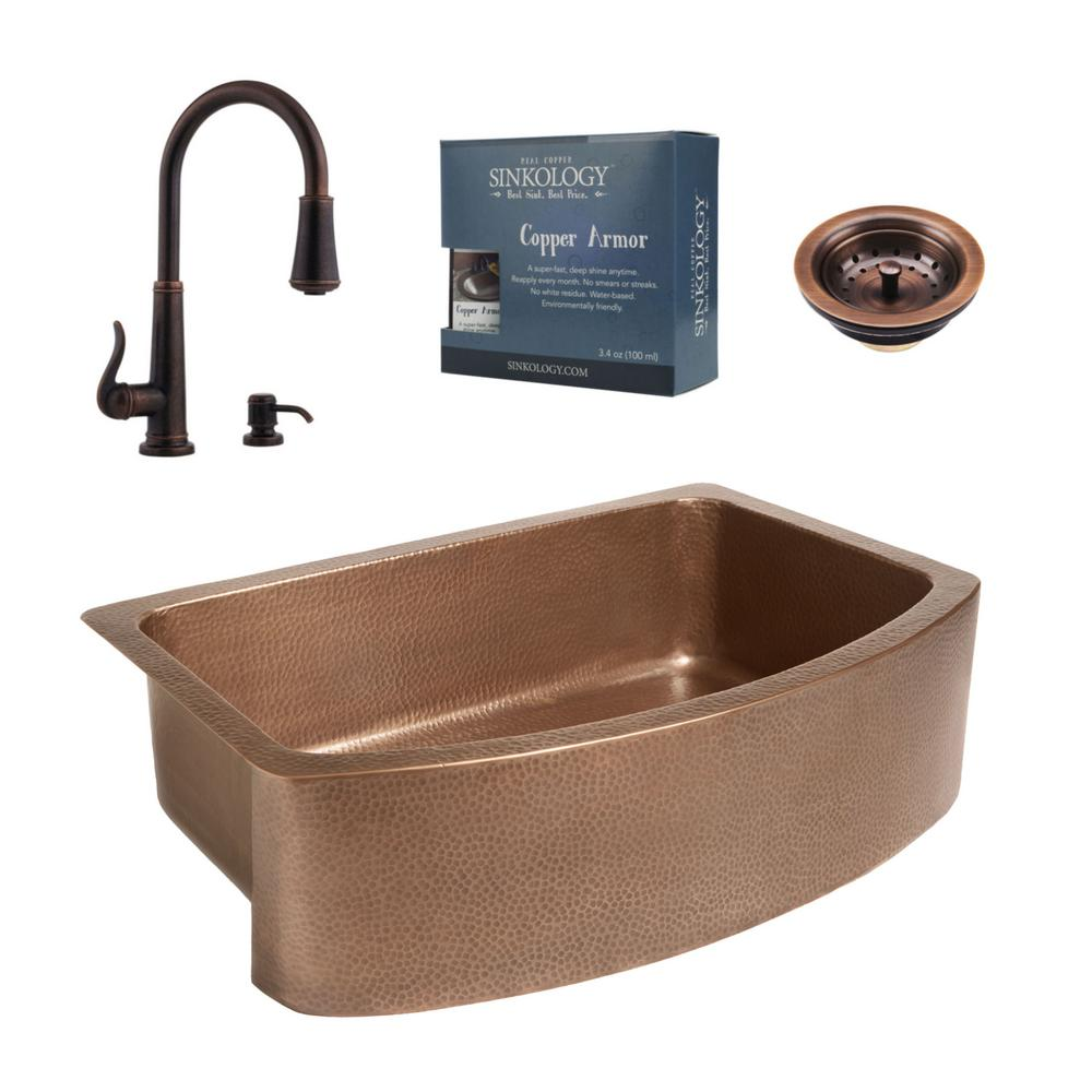 SINKOLOGY Ernst All-in-One Farmhouse Apron Copper 33 in. Single Bowl Kitchen Sink with Pfister Bronze Faucet and Strainer Drain