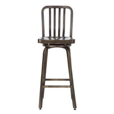 Sandra 29.75 in. Gun Metal Swivel Bar Stool