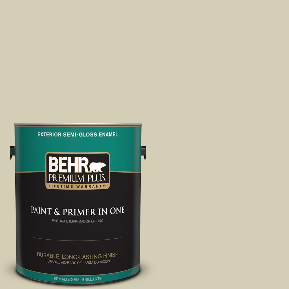 BEHR Premium Plus 1 gal. #MQ6-55 Pale Ivy Semi-Gloss Enamel Exterior Paint and Primer in One