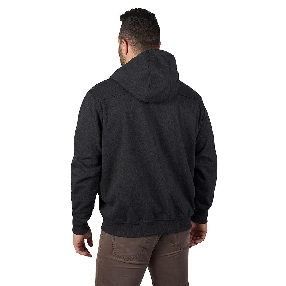 Milwaukee Mens Large Black No Days Off Hooded Sweatshirt Extended Neck and Zip