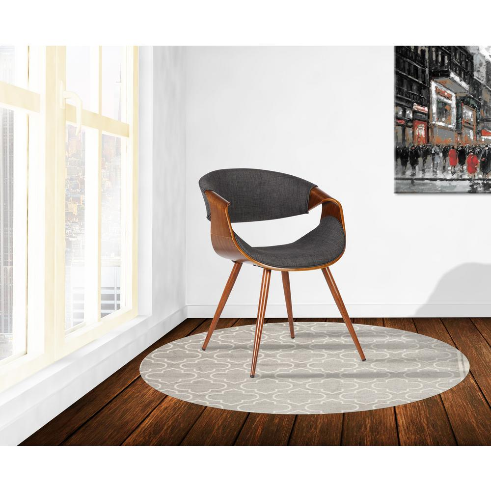Armen Living Butterfly 29 In. Charcoal Fabric And Walnut Wood Finish  Mid Century Dining