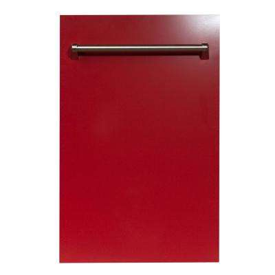 18 in. Top Control Dishwasher in Red Gloss with Stainless Steel Tub and Traditional Style Handle