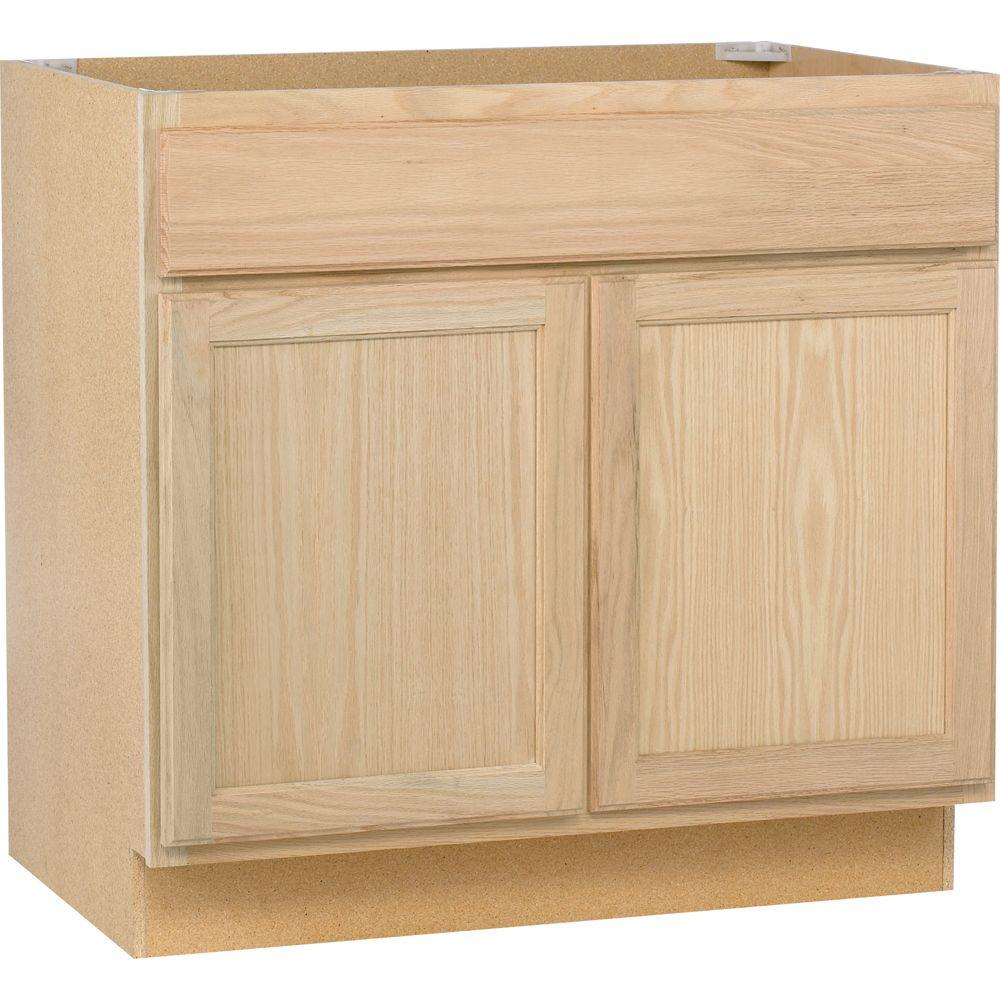 assembled 36x34 5x24 in sink base kitchen cabinet in unfinished oak rh homedepot com utility sink cabinet home depot corner sink cabinet home depot