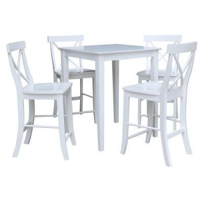 5 PC Set - White 30 in. Square Counter Height Dining Table with 4 X-Back Stools